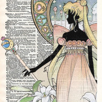 Sailor Moon Night Dictionary Art Print