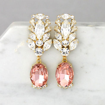 Blush Chandelier Earrings, Blush Pink Long Earrings, Bridal Blush Dangle Drop Earrings, Blush Chandelier Crystal Earrings, Blush Earrings
