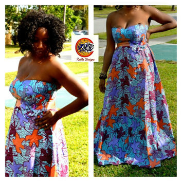 African Dress, African Ankara wax Print Strapless maxi Dress, Strapless Maxidress, African Fabric Strapless Maxi Dress
