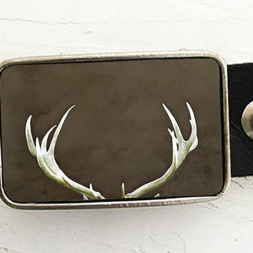 Antler Belt Buckle Deer Antlers perfect Valentines by Raceytay