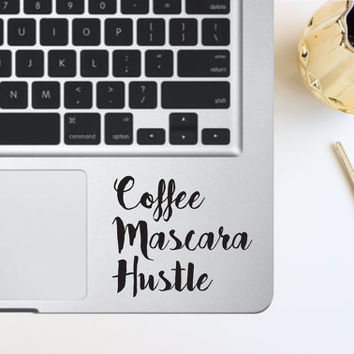 Coffee Hustle Mascara Laptop Decal
