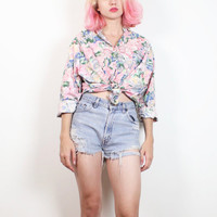Vintage 1990s Light Pink Floral Print Oversize Boxy 90s Blouse Pastel Rose Soft Grunge Boyfriend Shirt Button Up Oxford Preppy Top L Large