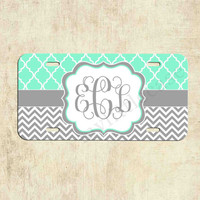 Monogrammed license plate - Mint Lattice Grey Chevron - Personalized License Plate - Car Tag - Front Plate