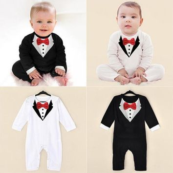 Good Quality Baby Boy Fashion Long Sleeve Jumpsuits V Collar Pattern Bowknot Rompers