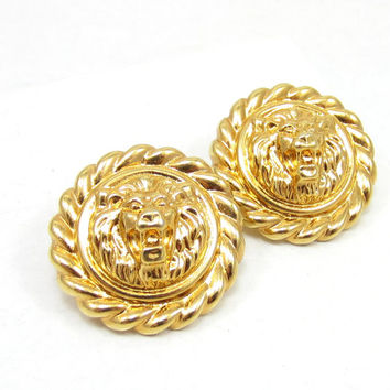 Gold Tone Lions Door Knocker Lions Head Clip On Earrings Statement Chunky Earrings Vintage Estate Runway Costume Jewelry 1980s High End