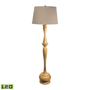 801-LED Distressed Acacia Wood LED Floor Lamp