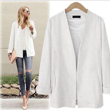 Adogirl Blazer Feminino New Autumn Winter Rolled up Sleeve Boyfriend Style With Pockets Cardigan Straight Blazers Women S M L XL