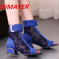 ENMAYER Blue, black, wine red Fashion Women High Heel Shoes Platform Pumps New Arrival 2014 Cut-Outs Wedding Shoes Ankle boots
