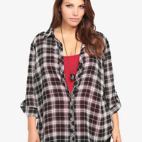 Plaid Chiffon Tunic Top