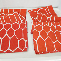 Vintage 1970s Vera Neumann Mod Cloth Napkins Set of 6  Orange and White Honeycomb