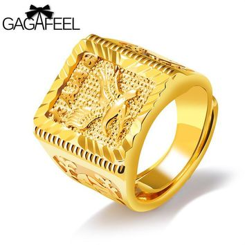 GAGAFEEL Eagle Wings Ring Free Size Men Jewelry Gold Color Open Rings Copper Luxury Domineering Good Development Lucky To Male