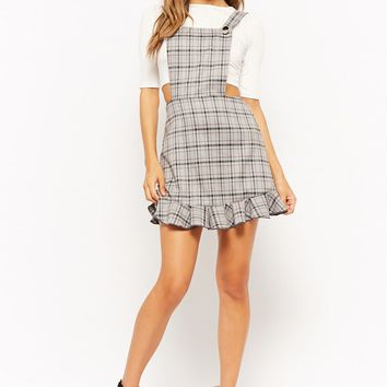 Ribbed Top & Glen Plaid Pinafore Dress Set
