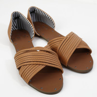 Packing Light Camel Strappy Flat Sandals