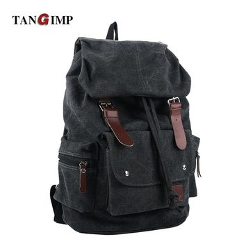 TANGIMP Vintage Backpack Casual Women Daily Canvas Bag Student Schoolbag Retro Punk Drawstring Travel Backpack mochila masculina