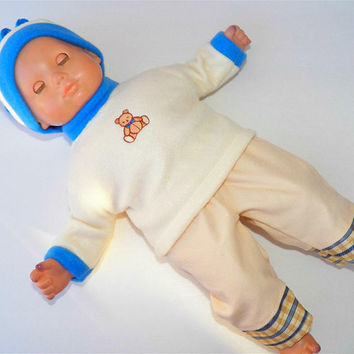 American Girl Bitty Baby Clothes 15 inch Doll Clothes 1 Off White Fleece Sweatshirt Teddy Bear Embroidery, Plaid bottom Pants, and Hat