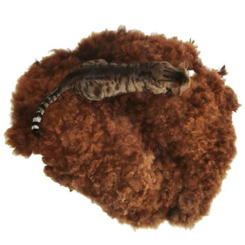 Wool Fleece Pet Bed Cruelty Free Rustic/Primitive Felted Cat Dog Rug - Black Corriedale - This is NOT a Sheepskin - It is Better