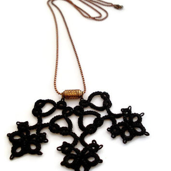 Black tatted  pendant with copper ball chain//Boho jewelry//gift for her//jewelry under 25/Contemporary jewelry//black lace//christmas gift