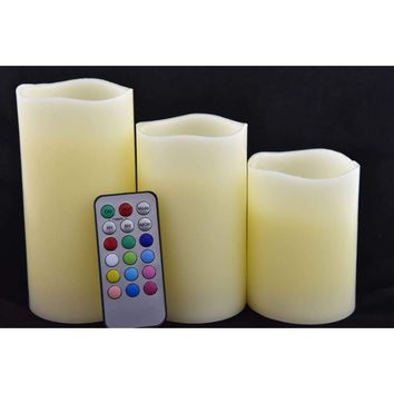 """Set of 3 Flameless Mulit-colored  """"Flame"""" Ivory Pillar Candles w/Remote"""