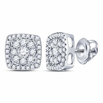 14kt White Gold Womens Round Diamond Square Cluster Earrings 1/2 Cttw