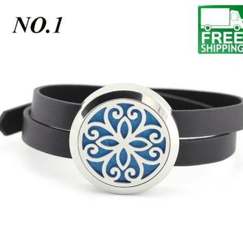 Stainless Steel Leather Bracelet Essential Oil Diffuser