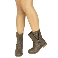 Women's Casual Side Spiked Zipper Combat Comfort Ankle Boots US Size 6-10 Brown