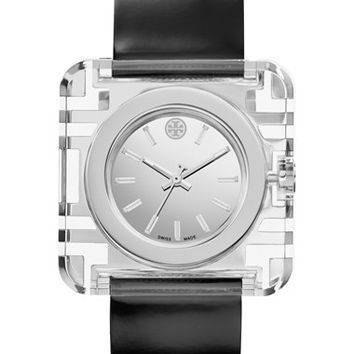 Women's Tory Burch 'Izzie' Square Leather Strap Watch, 36mm - Black/ Silver