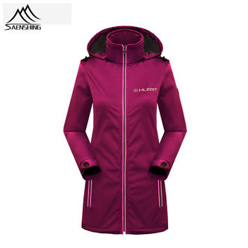 Saenshing waterproof jacket women long softshell jacket windbreaker Fleece outdoor jacket Rain coat hunting clothes Windbreaker