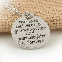 Hot Sale Love Between Grandmother And Granddaughter Necklace Round Heart Family Jewelry Necklace Jewelry