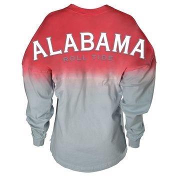 Official NCAA Venley University of Alabama Crimson Tide UA ROLL TIDE! Women's Long Sleeve Ombre Spirit Wear Jersey T-Shirt