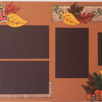 NEW!! Handmade Autumn/Fall  Premade 2-page 12 X 12 Scrapbooking Page Layout