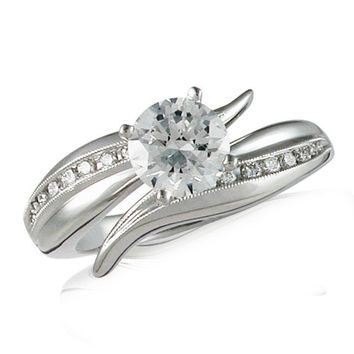 Vivadore Satin Finish Bypass Channel Set Diamond Engagement Ring with Milgrain Detailing