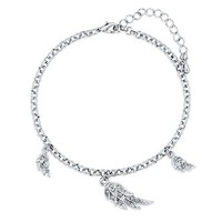 Anklet Ankle Bracelet Chain with Angel Wings Charms #a046