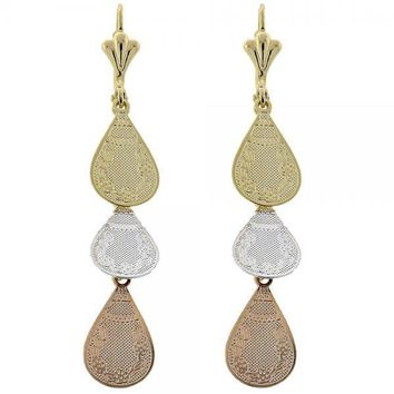 Gold Layered 066.007 Chandelier Earring, Flower Design, Diamond Cutting Finish, Tri Tone
