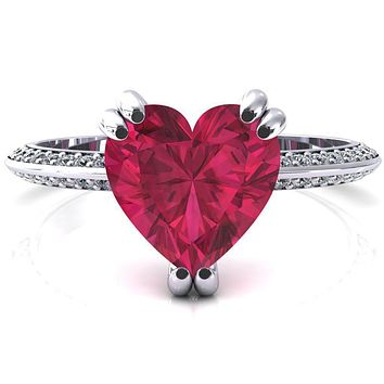 Nancy Heart Ruby 3 Double Prong 1/2 Eternity Diamond Knife Shank Accent Engagement Ring