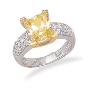 Bridal Rhodium and 14 Karat Gold Plated Yellow CZ Ring