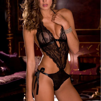 Black Lace Tie Back Teddy in OS