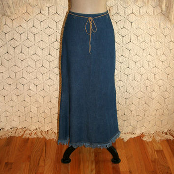 Vintage Denim Maxi Skirt Long Denim Skirt Western Cowgirl Fringe Skirt Denim Clothing Size 4 Skirt Size 6 Skirt Small Womens Clothing