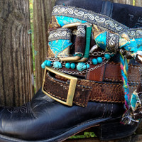 Gypsy Boho Southwestern Native American Cowgirl Boots size 8, Sante Fe Sally Boots
