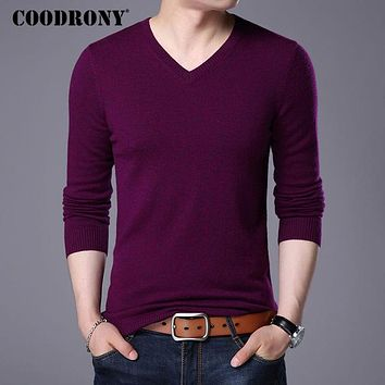 Merino Wool Sweater Men Casual Classic V-Neck Pull Homme Winter New Arrival Men's Pullover Sweaters Multicolor