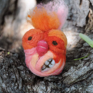 Melvin the Monster needle felt halloween decoration orange pink yellow squeeze toy stress ball