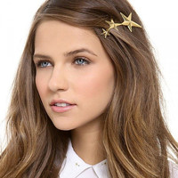 18K Gold Plated Shooting Star Hair Clip Pin Beach Wedding Hair Accessories