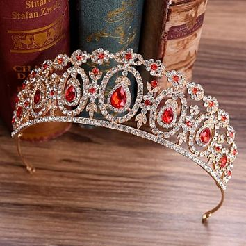 Baroque Vintage Gold Green Red Blue Crystal Bridal Tiaras Crown Rhinestone Pageant Diadem Hair Ornament Wedding Hair Accessories
