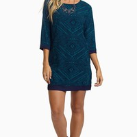 Teal-Diamond-Tribal-Shift-Dress