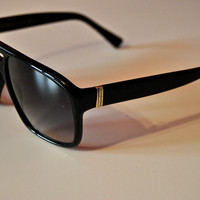 Ysl 2317/S Black Aviator Plastic Frame Logo Sunglasses (Yves Saint Laurent)
