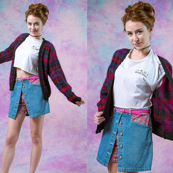 vtg 90s handmade plaid wool cardigan, pink purple punk goth vintage, 1990s cozy sweater, tumblr soft grunge, urban vaporwave aesthetic