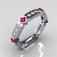 Classic 14K White Gold .27 ctw Diamond .48 ctw Pink Sapphire Eternity Ring Y256-14KWGDPS