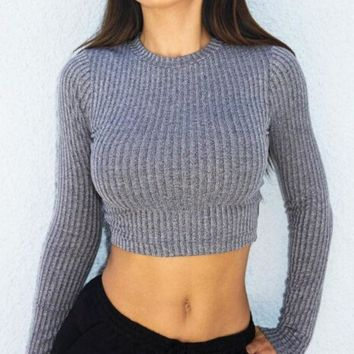 DCCKB62 Cross Straps Ribbed Knitted Sweater in Gray or Black