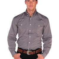 Stetson End on End Shirt with Buttons and 2 Pockets in Brown - Brown