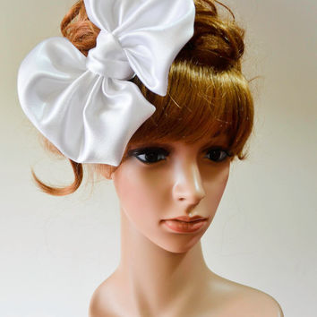 White satin oversized bow Headband/Barrette hair accessory/extra large big/wedding hens night bridesmaid/dolly girl headpiece/barbie/lolita