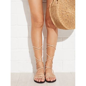 Criss Cross Strappy Flat Sandals